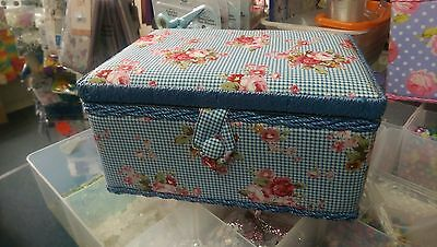 Blue Checked Sewing Box with Red Flowers