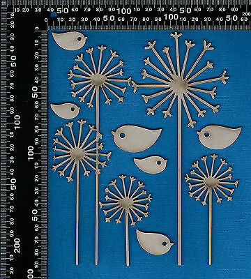 Chipboard Laser Cut Embellishment Dandelions and Birds Shapes