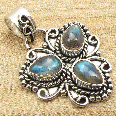 CHRISTMAS Pendant, Blue Fire 3 Gemset LABRADORITE Silver Plated UNISEX Jewelry