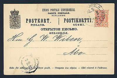 FINLAND 1892 10 Pen Postal Stationery to Abo Russian & Finnish Text