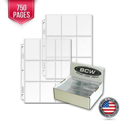750 New BCW Heavy Vinyl 9 Pocket Trading Card Album Pages #1 binder sheets