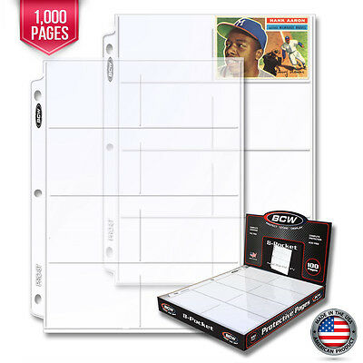 1000 New BCW Pro 8 Pocket Trading Card / Coupon Album Pages Binder Sheets