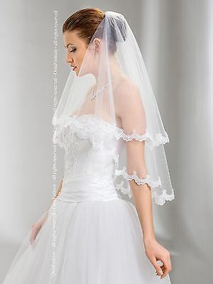 "2T White / Ivory Wedding Prom Bridal Elbow Veil With Comb 30""- Lace Edge"