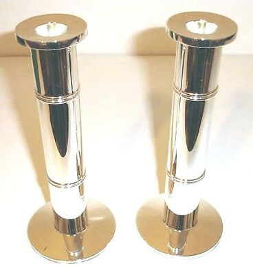 """Kate Spade Lenox POMPANO POINT Candlestick Holders SET/2 Silverplated 8"""" New"""
