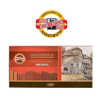 Original Koh-i-noor Gioconda 12 Artist´s Hard Chalks 8122 BROWN Square Pastels