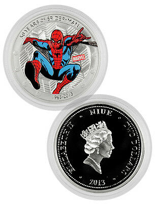 2013 Niue 1 oz Proof Silver Colorized Marvel Spider-Man $2 Coin in OGP SKU31726