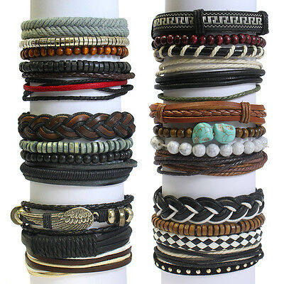 Men's Stacked Leather Bracelet Surfer Multi Row Layer Stack Wristband