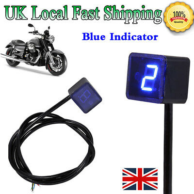 Blue LED Universal Digital Gear Motorcycle Indicator Display Shift Lever Sensor