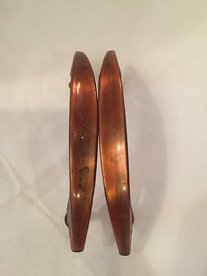 Vintage Pair (2) Brass Copper Colored Metal Drawer Cabinet Pulls Handles 4-1/4""