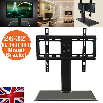 "Cantilever Glass TV Stand with Bracket for 26""-32"" inch LCD LED Plasma UK Ship"