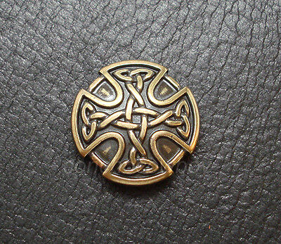 ANTIQUE BRASS CRAFT CELTIC CROSS CONCHO SADDLE CONCHO 1 inch screw back