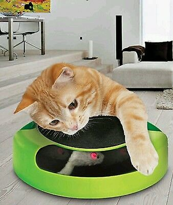 Cat Play Toy Kitten Catch The Mouse Plush Moving Toy Scratching Claw Care Mat Uk