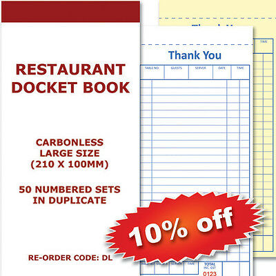 100 Restaurant Docket Books - Duplicate 50sets Large 100mm X 210 mm