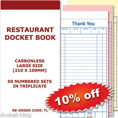 100 Restaurant Docket Books - Triplicate 50sets Large 100mm X 210 mm