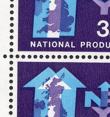 GB 1962 NPY 3d Stamps block 4 VARIETY Lake in Yorkshire SG632d Re:W514
