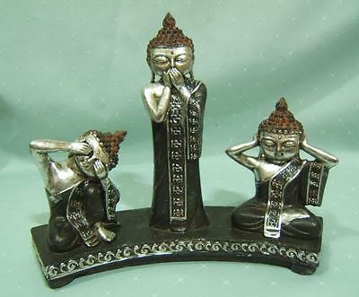 Thai Buddhas See Speak Hear No Evil Silver  Figurines Statue Fen Shui  (A)
