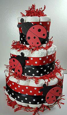 3 Tier Diaper Cake Lady Bug Red/Black - Baby Shower Centerpiece -50 Diapers (1)