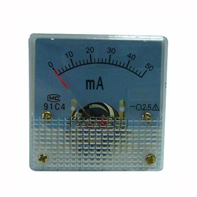 1×DC 50mA Analog Panel AMP Current Meter Ammeter Gauge 91C4 0-50mA DC New