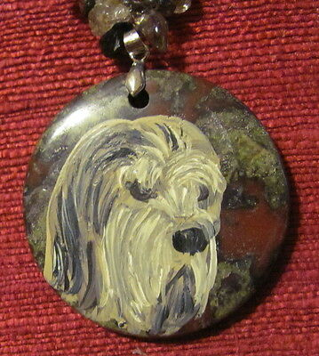 Otterhound hand painted on gemstone pendant/bead/necklace