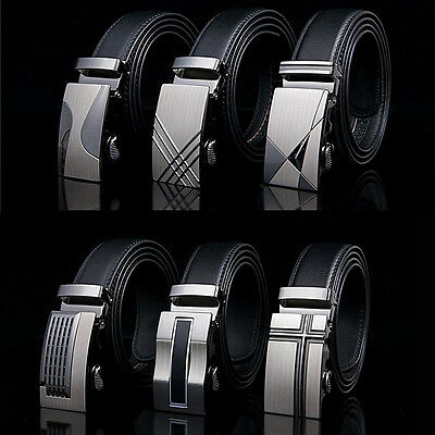 New Luxury Men's Business Buckle Genuine Belt Automatic Waistband Leather Strap