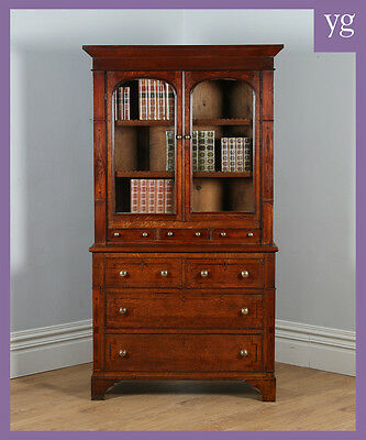 Antique Welsh Georgian Oak Mahogany Housekeepers Food Cupboard Bookcase Cabinet
