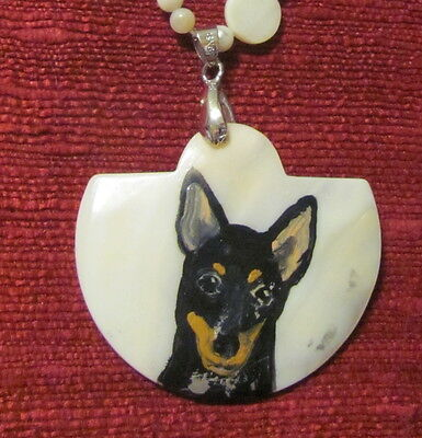 Miniature Pinscher - black and tan- hand painted on Mother of Pearl pendant/bead