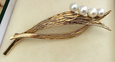 Beautiful quality 1970s Mikimoto Vintage 9ct Gold Cultured Pearl Brooch Stunning