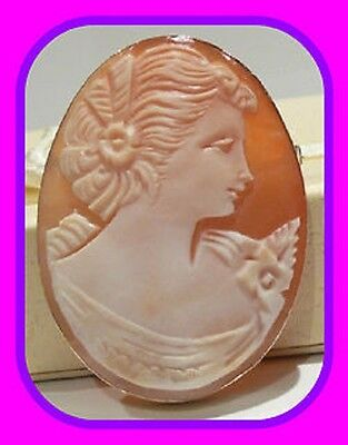 Large Heavy 7.74G 9Ct Gold Genuine Shell Cameo Vintage Brooch/pendant Italy/uk