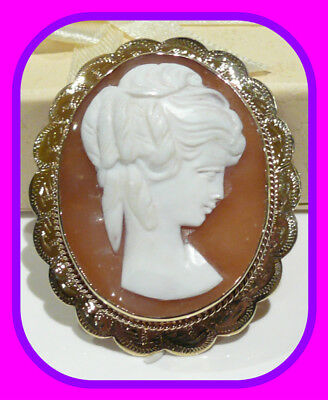 Large Heavy 13.34G Vintage 9Ct Gold Shell Cameo English Brooch/pendant 1969 Hm