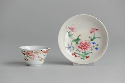 Antique 18c  Tea Cup Saucer Yongzheng Famille Rose Porcelain Plate Chinese Qing
