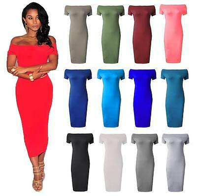 Womens Ladies Plus Size Off Shoulder Bardot Midi Stretch Bodycon Dress Fashion