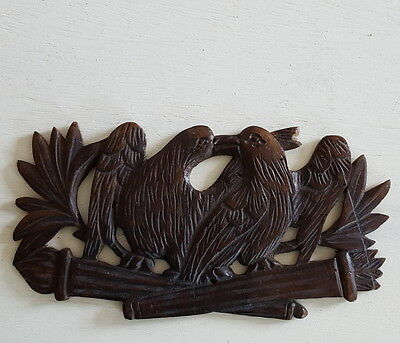 ANTIQUE FRENCH HAND CARVED WOOD PEDIMENT PANEL Bird Love FOLK ART