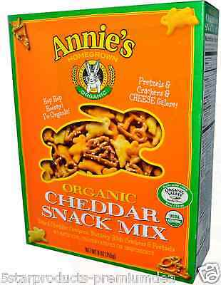 New Annie's Homegrown Organic Cheddar Snack Mix Calcium & Iron Daily Body Health