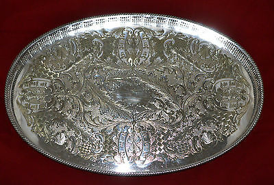 Vintage Viners Of Sheffield Chased Silver Plated Gallery Tray Downton Style