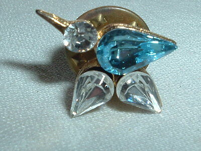 Vintage Blue Bird Of Happiness Rhinestone Tie Tack Lapel Hat Pin In Gift Box