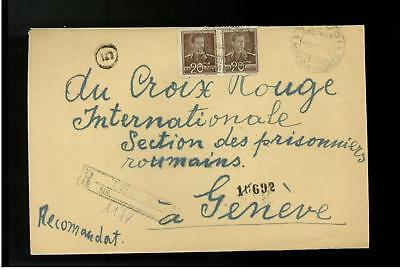 1943 Tecuci Romania registered Cover to Red Cross