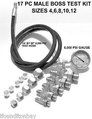 Hydraulic O-Ring BOSS ORB Pressure Test Kit 0-6,000 PSI Tractor Forklift Tester