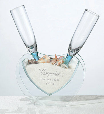 Personalized Wedding Heart Vase  W/2 Toasting Glasses! Sand/shells Incl.