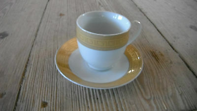 Aramco Imports ALPINE CUISINE,6 cups and 6 saucers,gold band and bold GREEK KEY