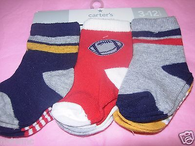 Carter's Infant 3-12 Months Baby Boy's 6 Pair of Socks Variety Pack NWT