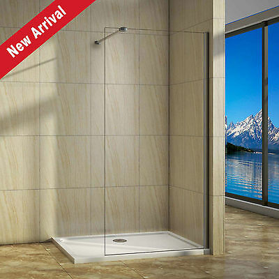 Aica Shower Enclosure Wet Room Screen Stone Tray Walk In Panel Easyclean Glass