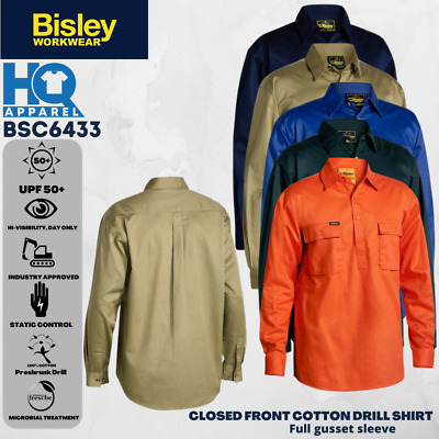 Bisley Workwear Shirts Closed Front Cotton Drill Shirt Long Sleeve Bsc6433