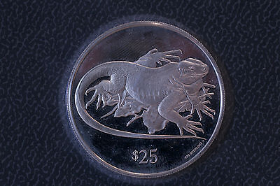 British Virgin Islands Bvi 1993 $25 Sterling Silver Proof Rock Iguana Sealed!