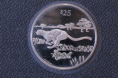 British Virgin Islands Bvi 1993 $25 Sterling Silver Proof Cheetah Franklin Mint