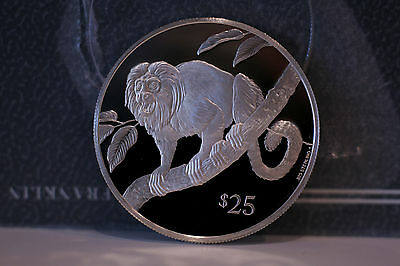 British Virgin Islands Bvi 1993 $25 Tamarin Lion Sterling Silver Proof