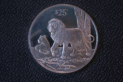 British Virgin Islands Bvi 1993 $25 Sterling Silver Proof Asian Lion Sealed Uc
