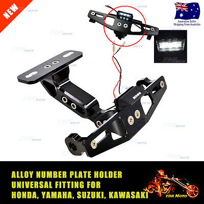 Motorcycle Adjustable Alloy License Number Plate Holder Bracket w' LED Light Blk