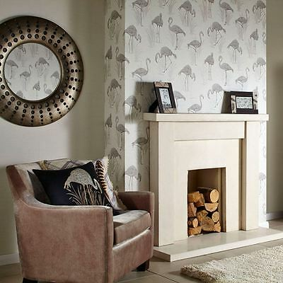 Vintage Lagoon Flamingo Wallpaper - Neutral - Arthouse 252604 New Luxury