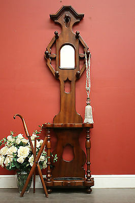 Antique Australian Cedar and Mirror Government Railway Hall Coat Hat Stand Rack
