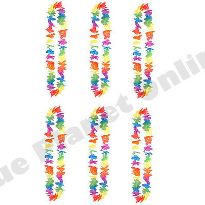 6X Bulk Buy Hawaiian Multi Lei Garland Necklace Hula Aloha Summer Fancy Dress